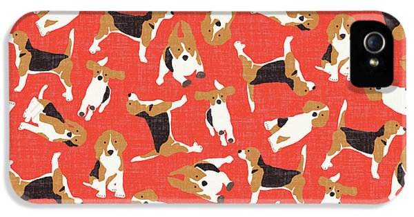 Beagle Scatter Coral Red IPhone 5s Case by Sharon Turner