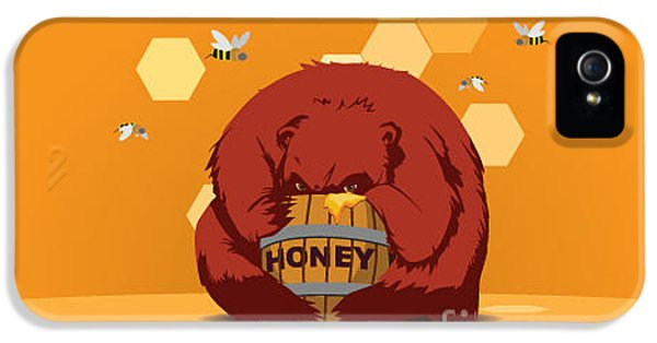 Fairy iPhone 5s Case - Bear Eats Honey From Barrel Against by Funhare