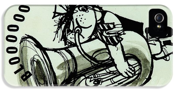 Trombone iPhone 5s Case - Blooooob! Ink On Paper by Brenda Brin Booker