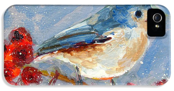 Blue Bird In Winter - Tuft Titmouse Modern Impressionist Art IPhone 5s Case by Patricia Awapara