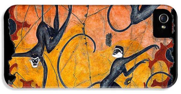 Bogdanoff iPhone 5s Case - Blue Monkeys No. 9 by Steve Bogdanoff