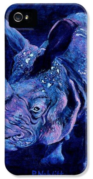 Indian Rhino - Blue IPhone 5s Case by Paula Noblitt