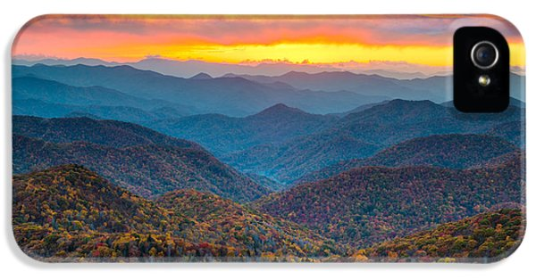 Blue Ridge Parkway Fall Sunset Landscape - Autumn Glory IPhone 5s Case