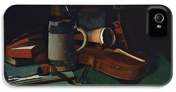 Violin iPhone 5s Case - Books Mug Pipe And Violin by John Frederick Peto