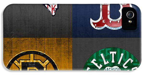 Boston Sports Fan Recycled Vintage Massachusetts License Plate Art Patriots Red Sox Bruins Celtics IPhone 5s Case by Design Turnpike