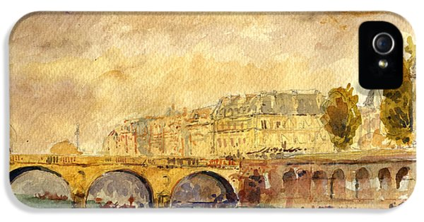 Bridge Over The Seine Paris. IPhone 5s Case by Juan  Bosco