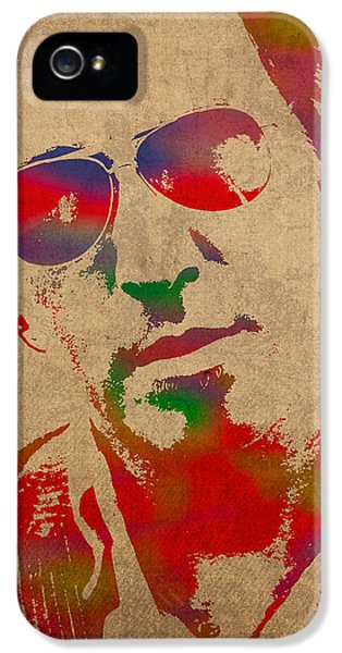 Musicians iPhone 5s Case - Bruce Springsteen Watercolor Portrait On Worn Distressed Canvas by Design Turnpike
