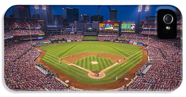 Cardinal iPhone 5s Case - Busch Stadium St. Louis Cardinals Night Game by David Haskett II