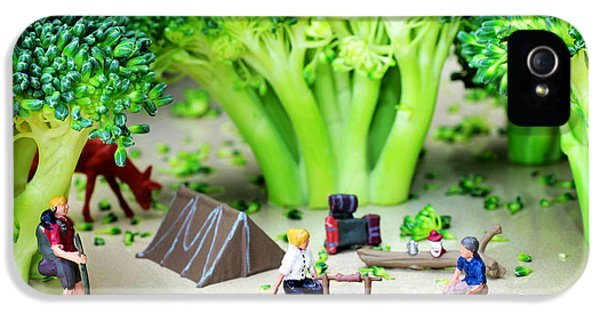 Broccoli iPhone 5s Case - Camping Among Broccoli Jungles Miniature Art by Paul Ge