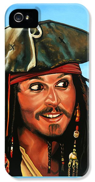 Johnny Depp iPhone 5s Case - Captain Jack Sparrow Painting by Paul Meijering