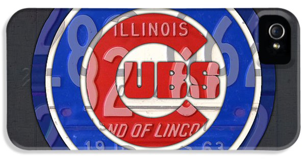 Professional Baseball Teams iPhone 5s Case - Chicago Cubs Baseball Team Retro Vintage Logo License Plate Art by Design Turnpike