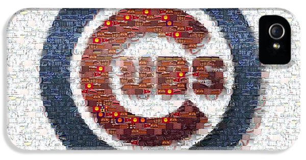 Professional Baseball Teams iPhone 5s Case - Chicago Cubs Mosaic by David Bearden