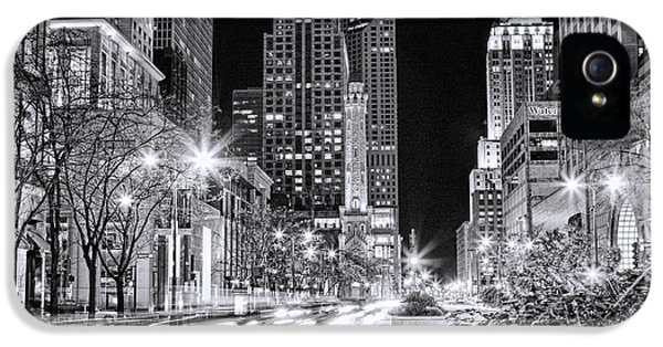 Chicago Michigan Avenue Light Streak Black And White IPhone 5s Case by Christopher Arndt