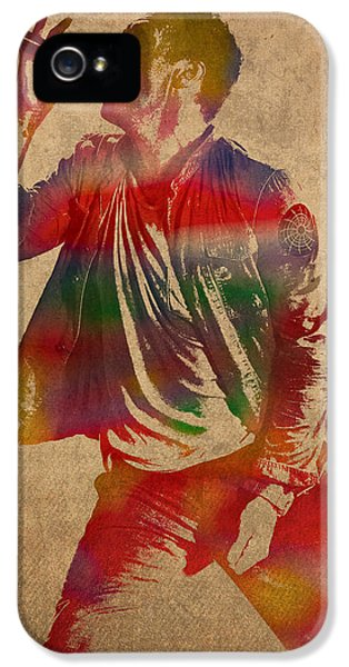 Chris Martin Coldplay Watercolor Portrait On Worn Distressed Canvas IPhone 5s Case by Design Turnpike