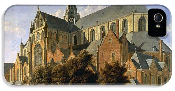 Harlem iPhone 5s Case - Church Of St. Bavo In Haarlem, 1666 Oil On Panel by Gerrit Adriaensz Berckheyde