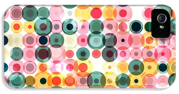 Pastel Colors iPhone 5s Case - Circles Pattern Retro Background by Reuki