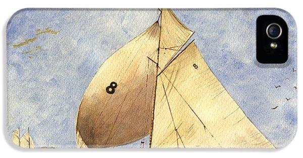 Barcelona iPhone 5s Case - Classic Yacht Barcelona by Juan  Bosco