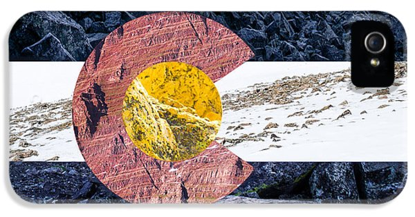 Colorado State Flag With Mountain Textures IPhone 5s Case by Aaron Spong