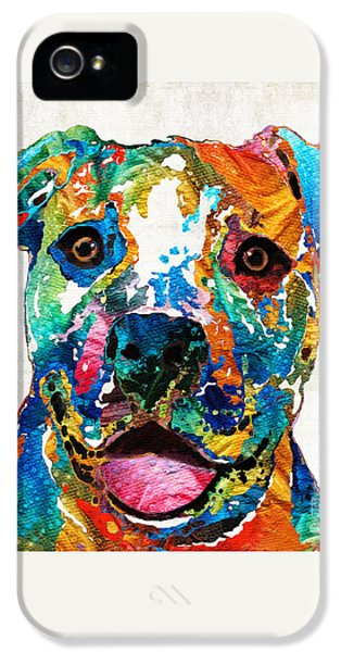 Colorful Dog Pit Bull Art - Happy - By Sharon Cummings IPhone 5s Case