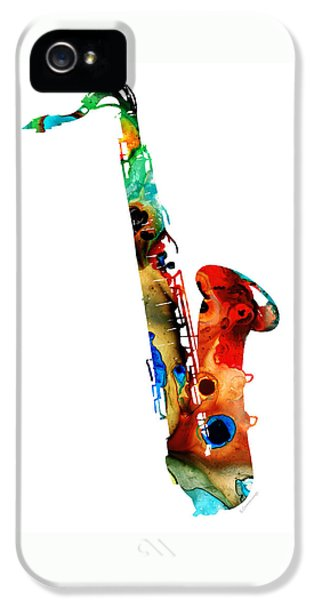 Music iPhone 5s Case - Colorful Saxophone By Sharon Cummings by Sharon Cummings