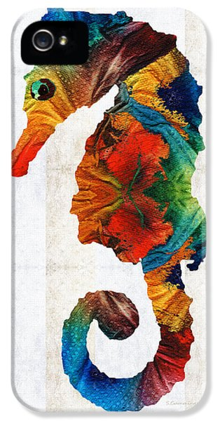 Seahorse iPhone 5s Case - Colorful Seahorse Art By Sharon Cummings by Sharon Cummings