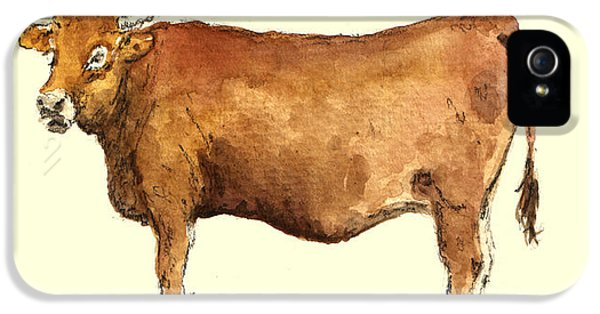 Cow iPhone 5s Case - Cow by Juan  Bosco