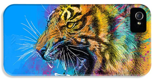 Animals iPhone 5s Case - Crazy Tiger by Olga Shvartsur