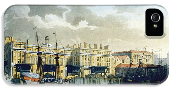 Custom House From The River Thames IPhone 5s Case by T. & Pugin, A.C. Rowlandson