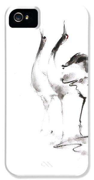 Crane iPhone 5s Case - Dancing Cranes Japanese Artwork by Mariusz Szmerdt