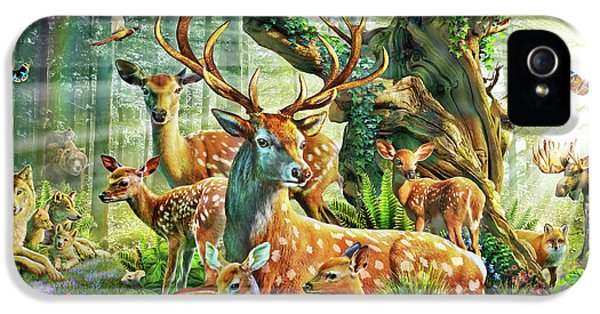 IPhone 5s Case featuring the drawing Deer Family In The Forest by Adrian Chesterman