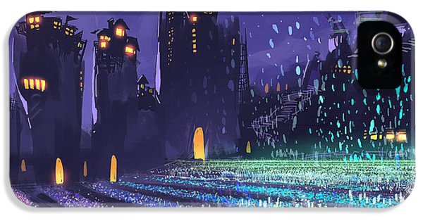 Castle iPhone 5s Case - Digital Painting Showing A Field Of by Tithi Luadthong