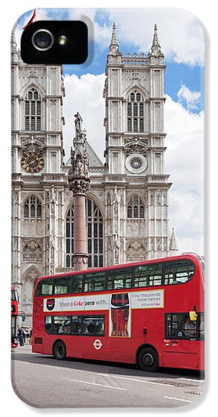 Westminster Abbey iPhone 5s Case - Double-decker Buses Passing by Panoramic Images