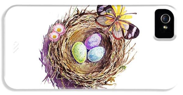 Easter Colors Bird Nest IPhone 5s Case by Irina Sztukowski
