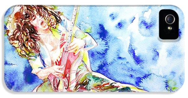 Eddie Van Halen Playing The Guitar.1 Watercolor Portrait IPhone 5s Case by Fabrizio Cassetta