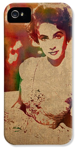 Elizabeth Taylor Watercolor Portrait On Worn Distressed Canvas IPhone 5s Case by Design Turnpike