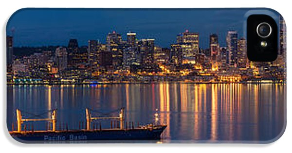 Seattle Skyline iPhone 5s Case - Elliott Bay Seattle Skyline Night Reflections  by Mike Reid