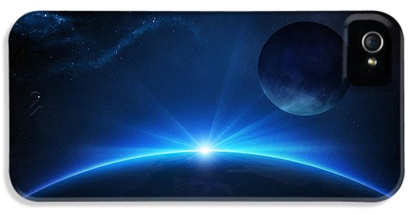 Planets iPhone 5s Case - Fantasy Earth And Moon With Sunrise by Johan Swanepoel