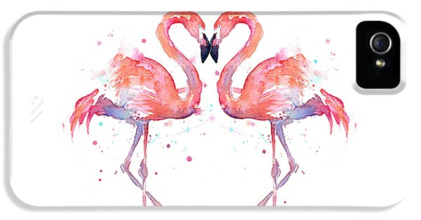 Animal iPhone 5s Case - Flamingo Love Watercolor by Olga Shvartsur
