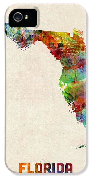 Miami iPhone 5s Case - Florida Watercolor Map by Michael Tompsett