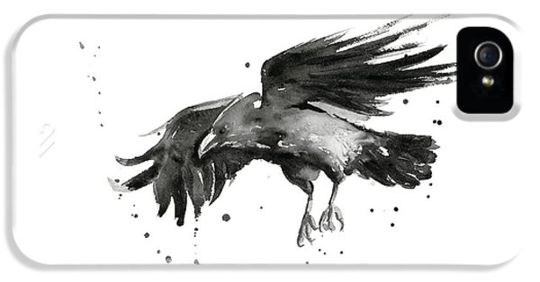 Crow iPhone 5s Case - Flying Raven Watercolor by Olga Shvartsur