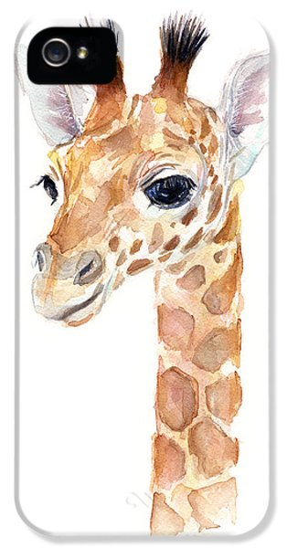 Giraffe Watercolor IPhone 5s Case by Olga Shvartsur