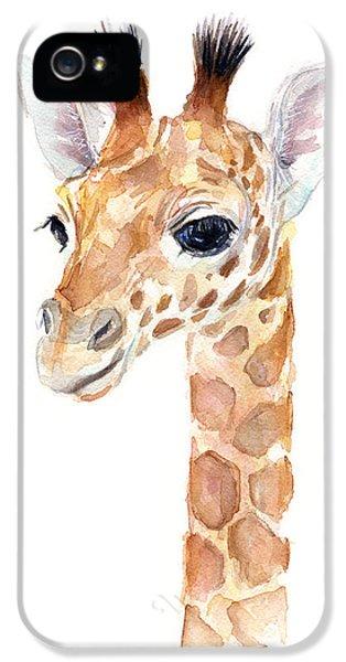 Giraffe Watercolor IPhone 5s Case by Olga Shvartsur