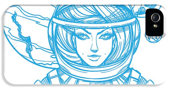 Etching iPhone 5s Case - Girl In A Spacesuit For T-shirt Design by Filkusto