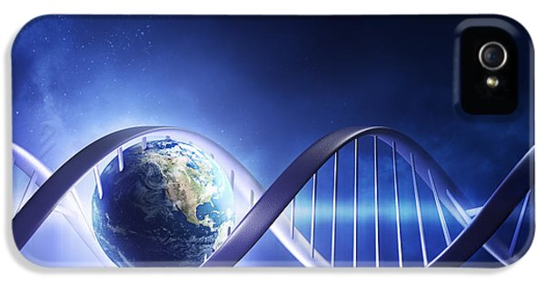 Planets iPhone 5s Case - Glowing Earth Dna Strand by Johan Swanepoel