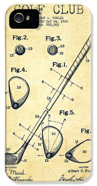 Golf Club Patent Drawing From 1910 - Vintage IPhone 5s Case by Aged Pixel