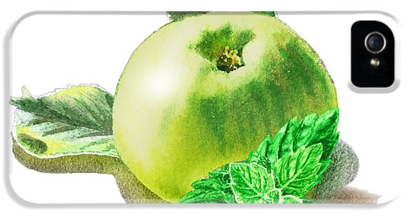 IPhone 5s Case featuring the painting Green Apple And Mint Happy Union by Irina Sztukowski