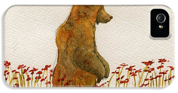 Grizzly Brown Bear Flowers IPhone 5s Case