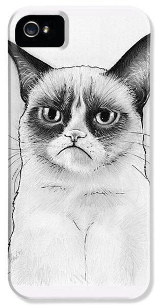 Cat iPhone 5s Case - Grumpy Cat Portrait by Olga Shvartsur