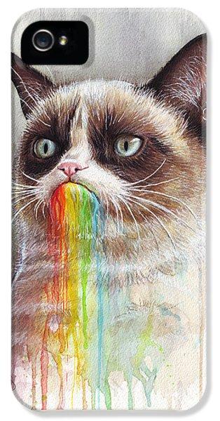 Grumpy Cat Tastes The Rainbow IPhone 5s Case by Olga Shvartsur