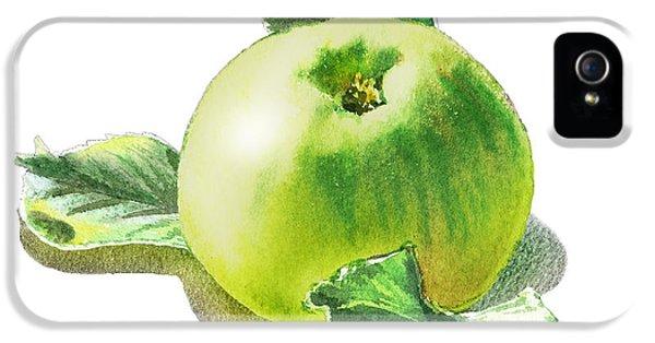 IPhone 5s Case featuring the painting Happy Green Apple by Irina Sztukowski